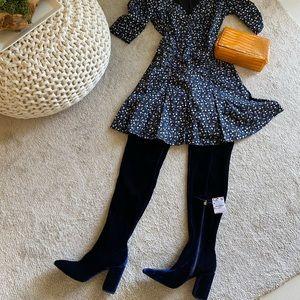 Zara Over the Knee Navy Blue Velvet Boots